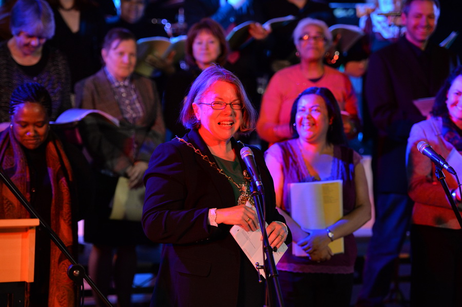 The Mayor of Royal Greenwich, Cllr Angela Cornforth, addresses the audience at the Woolwich Singers First Anniversary Concert at the Woolwich Grand Theatre (photo: Mike King)