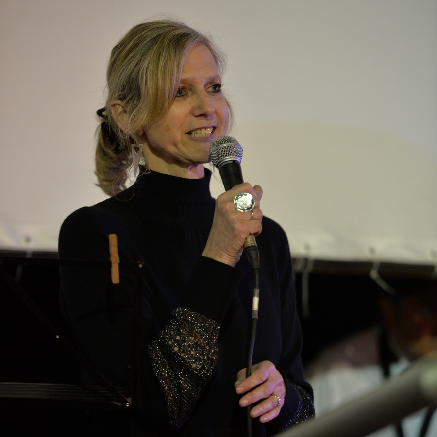 Wendy Young welcomes the audience to the Woolwich Singers First Anniversary Concert at the Woolwich Grand Theatre (photo: Mike King)
